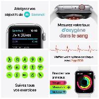 Montre Intelligente - Montre Connectee Apple Watch Series 6 GPS + Cellular. 40mm Boitier en Aluminium Argent avec Bracelet Sport Blanc