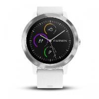 Montre Intelligente - Montre Connectee GARMIN Vivoactive 3 Montre connectée avec GPS et Cardio - Argent et Bracelet blanc