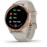Montre Intelligente - Montre Connectee Garmin Venu - Montre connectée GPS avec écran Amoled - Rosegold / Beige