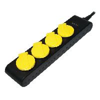 Multiprise Multiprise noire et jaune avec rallonge 1.4m - parafoudre - 4 prises SCHUKO 230VAC 10A - ADNAuto