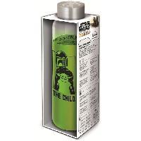 Multisport Bouteille - STOR - Star Wars : The Mandalorian - En Verre avec manchon Silicone - Réutilisable - 585 ml