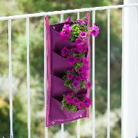 Mur Vegetal - Pot Pour Mur Vegetal - Kit Mur Vegetal Mur vegetal en tissu feutre -incl. attaches balcon- - pourpre. H60 x 30 cm