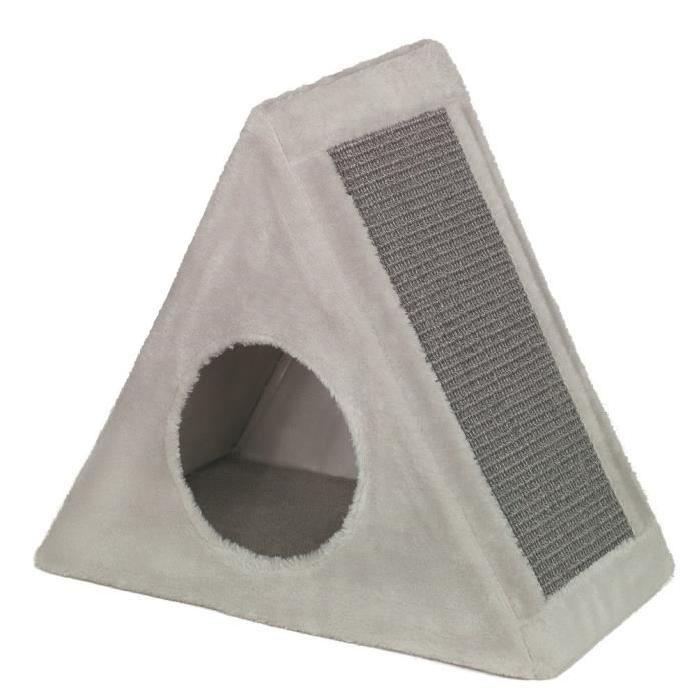 NOBBY-Grattoir-triangulaire-Eline-45x25x48cm-Gris-Pour-chat
