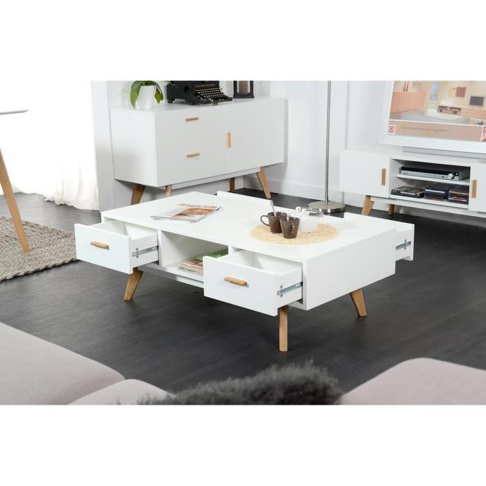 Nordik Table Basse Scandinave Blanc Laque Avec Cadre Metal