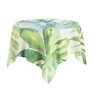 Nappe De Table DEKOANDCO Nappe carree vegetal blanc - 100x100 cm - 4 pompons amovibles- Imprime vert Deko & Co