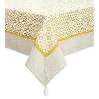Nappe De Table DEKOANDCO Nappe rectangulaire Camelia -140x250 cm - 4 pompons amovibles- Imprime jaune Deko & Co