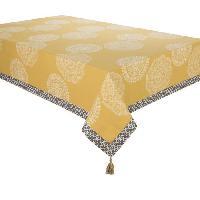 Nappe De Table DEKOANDCO Nappe rectangulaire Dentelle - 140x250 cm - 4 pompons amovibles- Imprime safran Deko & Co