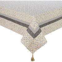 Nappe De Table DEKOANDCO Nappe rectangulaire Rhodes - 140x250 cm - 4 pompons amovibles- Imprime jaune et gris Deko & Co