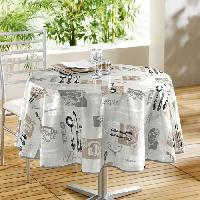 Nappe De Table DOUCEUR D'INTERIEUR Nappe toile ciree Decor line Heritaga 160 cm gris et blanc