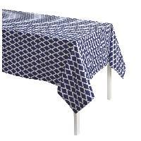 Nappe De Table TODAY Nappe Imprimee CYCLADES 140x240 100 coton Bleu et blanc