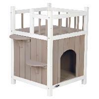 Niche Cat's Home avec balcon - 45x65x45cm gris blanc Trixie