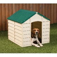 Niche Niche en plastique beige - verte pour chien - 84.5 x 79 x h 80.5 cm