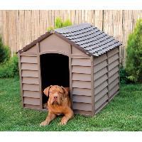 Niche Niche en plastique mocha - marron chocolat pour chien - 84.5 x 79 x h 80.5 cm