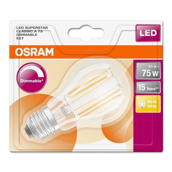 OSRAM-Ampoule-LED-filament-standard-E27-O6cm-2700K-8-5W-75W-1055-Lumens-Dimmable miniature 2