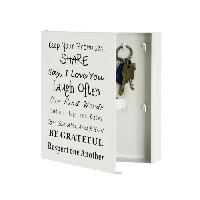 Objet De Decoration - Bibelot Boîte a Clés en métal laqué blanc  avec 10 crochets - 22 x 5 x 24 cm - Aucune