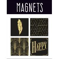 Objet De Decoration - Bibelot EMOTION 4 magnets style Precious Black - Noir et or