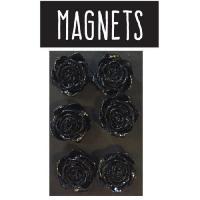 Objet De Decoration - Bibelot EMOTION 6 magnets en forme de rose - Noir