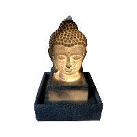 Objet De Decoration - Bibelot Fontaine lumineuse Bouddha - 3 LED - 27 x 27 x H41 cm - Polyresine - Gris - Transfo Aucune