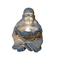 Objet De Decoration - Bibelot Fontaine lumineuse Happy Bouddha  - 4 LED - 31 x 32 x H39.5 cm - Polyresine - Gris - Transfo Aucune