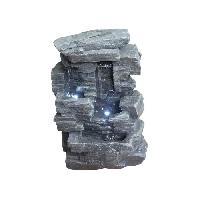 Objet De Decoration - Bibelot Fontaine lumineuse Rocher - 16 x 23 x H32 cm - Polyresine - Naturel - Transfo Aucune