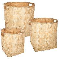 Objet De Decoration - Bibelot Set de 3 paniers ronds en bambou - Beige