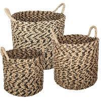 Objet De Decoration - Bibelot Set de 3 paniers ronds en seagrass - Multicolore