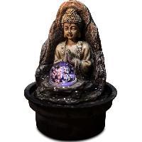 Objet De Decoration - Bibelot ZEN Fontaine d'interieur bouddha avec boule de verre en rotation Peace - Marron