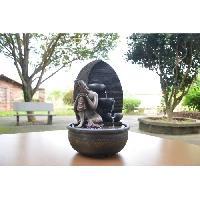 Objet De Decoration - Bibelot ZEN'LIGHT Fontaine d'intérieur Grace -  Fontaine Bouddha - Décoration Feng Shui - Eclairage LED - SCFR1716 - Marron - Aucune