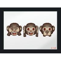 Objet De Decoration Murale Image imprimee - 30 x 40cm - Bois - Emoji 3 singes