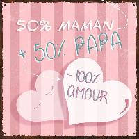Objet De Decoration Murale PAPA & MAMAN Image contrecollée 20X20 cm 100 pour cent amour Aucune