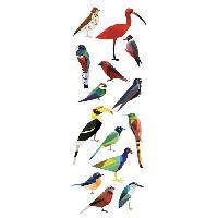 Objet De Decoration Murale Sticker deco Aelis - Planche 24x68 cm - Oiseaux stylises multicolores