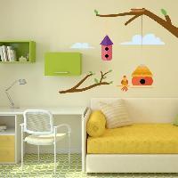 Objet De Decoration Murale Stickers Cages a oiseaux sur un arbre - 55x40x1 cm - Vinyle calandre monomerique
