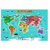 Objet De Decoration Murale Stickers Carte du monde - 115x66x1 cm - Vinyle calandre monomerique