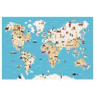 Objet De Decoration Murale Stickers Carte du monde - 73x50x1 cm - Vinyle calandre monomerique