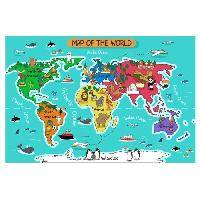 Objet De Decoration Murale Stickers Carte du monde - 90x60x1 cm - Vinyle calandre monomerique