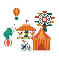 Objet De Decoration Murale Stickers Circus Wall - 36x30x1 cm - Vinyle calandre monomerique
