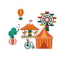 Objet De Decoration Murale Stickers Circus Wall - 44x40x1 cm - Vinyle calandre monomerique