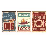 Objet De Decoration Murale Stickers adhesif mural Vintage Street Food Signs - Multicolore - 84x40cm