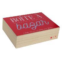 Objet Decoratif Boite a bazar - Bois - 18 x 24 cm - Beige et rouge