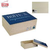 Objet Decoratif Boite a mignonnerie - Bois - 14 x 20 cm - Beige et bleu