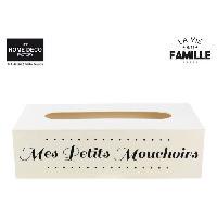 Objet Decoratif Boite a mouchoir - Bois - 27 x 13.5 cm - Beige