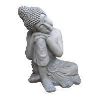 Objet Decoratif HOMEA Bouddha Penseur H56 cm gris