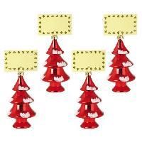 Objet Decoratif Lot de 4 Décorations sapins de Noël : Porte-Nom rouge Generique