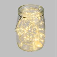 Objet Decoratif Pot en verre Ø15.5 cm avec guirlande de 40 MicroLED lumiere fixe blanc chaud Lola & Grace