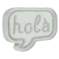 Objets Lumineux D Interieur Decoration neon Hola - Structure en metal. plastique et cuivre - 24 x 4.5 x 18 cm - 3 piles AA non fournies