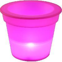 Objets Lumineux D Interieur Pot Lumineux En Plastique A Piles + 1Led O16H13Cm Fuchsia