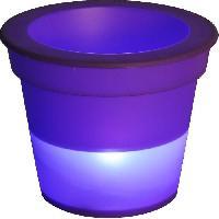 Objets Lumineux D Interieur Pot Lumineux En Plastique A Piles + 1Led O16H13Cm Prune