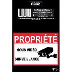 PROPRIETE SOUS VIDEO SURVEILLANCE Adhesif pre-decoupe - Dimension 9 x 6.5 cm - Resistant