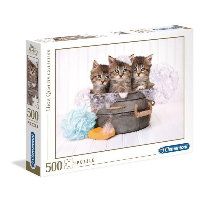 PUZZLE-500-pieces-Kittens-and-soap-49-X-36-cm-Clementoni
