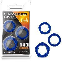 Pack 3 Anneaux Stay Hard Beaded - Bleu